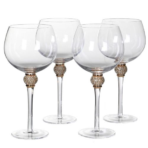 Set of 4 Gold Diamante Gin Glasses